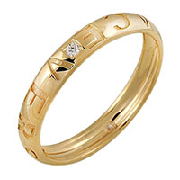 Золотое обручальное кольцо Versace с бриллиантом, фото