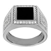 Мужское кольцо-печатка Versace с ониксом, фото
