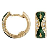 Серьги Faberge с зелеными вставками и вензелями, фото