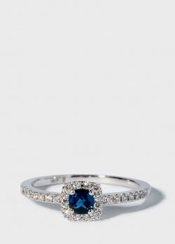 Золотое кольцо Zarina Кольори Кохання с бриллиантовой дорожкой и сапфиром, фото