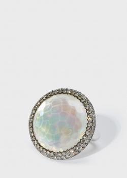 Золотое кольцо Zarina by Roman Bayand с горным хрусталем и перламутром , фото