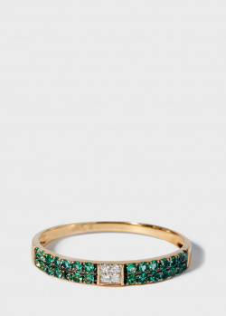Золотое кольцо Zarina Sparkling Eyes в бриллиантах и изумрудах, фото