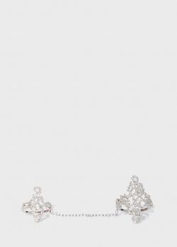 Коктейльное кольцо Zarina Muse из белого золота, фото