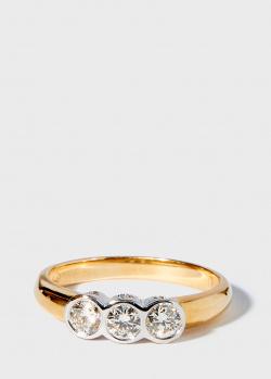 Кольцо из желтого золота Zarina Sparkling Eyes с бриллиантовой дорожкой, фото