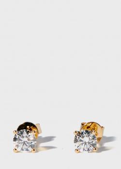 Золотые пусеты Zarina One Love с бриллиантами (1,01 ct), фото