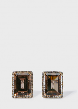 Золотые серьги Zarina by Roman Bayand с дымчатыми кварцами (22,81 ct), фото