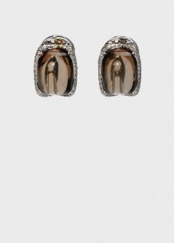 Крупные серьги Zarina с дымчатыми кварцами, фото