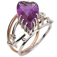 Золотое кольцо с аметистом в форме сердца, фото