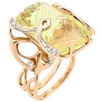 Золотое кольцо с бриллиантом и зеленым цитрином, фото