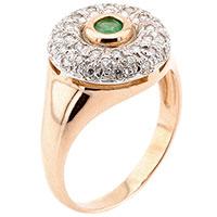 Кольцо из красного золота с изумрудом и бриллиантами, фото