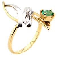 Золотое кольцо с бриллиантом и изумрудом овальной формы, фото