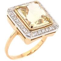 Кольцо с цитрином из красного золота, фото