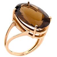 Золотое кольцо с крупным Бренди топазом, фото