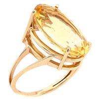 Кольцо из красного золота с желтым цитрином, фото