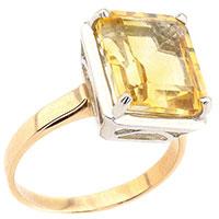 Кольцо с желтым цитрином из красного золота, фото