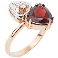 Золотое кольцо с гранатом и фианитом, фото