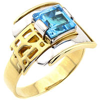 Кольцо из желтого золота с топазом квадратной формы, фото