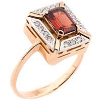 Золотой перстень с красным гранатом и фианитами, фото