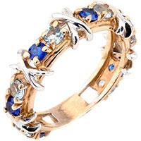 Золотое кольцо с голубым топазом и шпинелью, фото