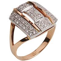 Перстень из красного золота с бриллиантовой россыпью, фото