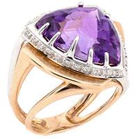 Золотое кольцо с бриллиантами и фиолетовым аметистом, фото