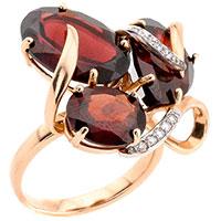 Кольцо из красного золота с гранатом и фианитами, фото