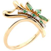 Кольцо с зеленым изумрудом на фигурной шинке, фото