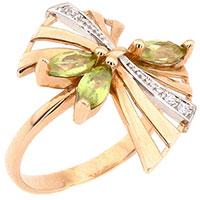 Золотое кольцо с зеленым хризолитом и фианитами, фото