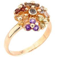 Кольцо с россыпью камней из красного золота, фото