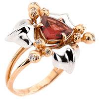 Золотое кольцо в форме цветка с гранатом и фианитами, фото