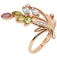 Кольцо из красного золота с россыпью камней, фото