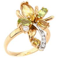 Кольцо из золота с зеленым хризолитом и цитрином, фото
