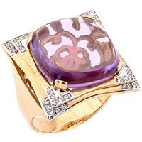 Золотое кольцо с фиолетовым аметистом и фианитами, фото