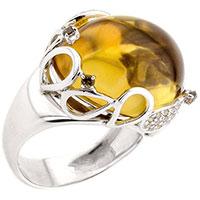 Кольцо из белого золота с цитрином и кварцем, фото