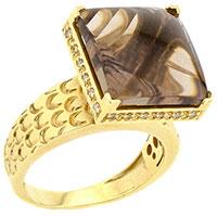 Золотое кольцо с дымчатым кварцем квадратной формы, фото