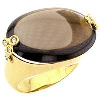 Золотое кольцо с бриллиантом и дымчатым кварцем, фото