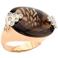 Объемное золотое кольцо с дымчатым кварцем, фото