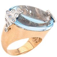 Кольцо из красного золота с топазом овальной формы, фото