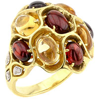 Кольцо из золота с бриллиантом, цитрином и гранатом, фото