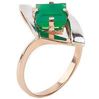 Кольцо из красного золота Диамант с зеленым ониксом, фото