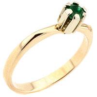 Кольцо из красного золота с зеленым изумрудом, фото
