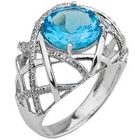 Золотое кольцо с крупным топазом, фото