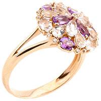 Золотое кольцо с аметистом, топазом и бриллиантом, фото