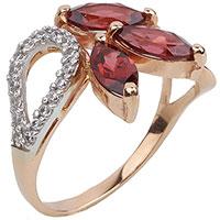 Кольцо из красного золота Диамант с гранатом, фото