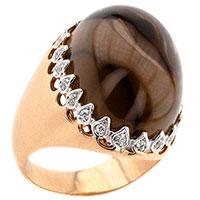 Золотой перстень с дымчатым кварцем, фото