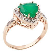 Золотое кольцо с зеленым агатом, фото