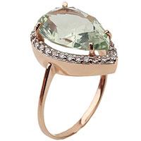 Золотое кольцо с зеленым кварцем, фото