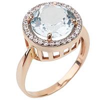 Золотое кольцо с голубым аквамарином, фото