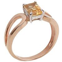 Золотое кольцо с желтым цитрином, фото