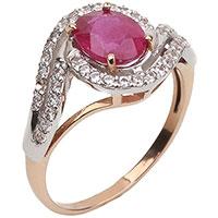 Золотое кольцо с рубином и фианитами, фото